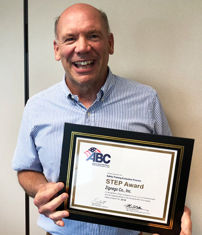 Dan Zignego accepts STEP Safety Award